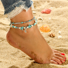 Summer Beach Starfish Anklets Bracelets Bohemian Double Layer Silver Color Alloy Beads For Women Wedding Gift Jewelry