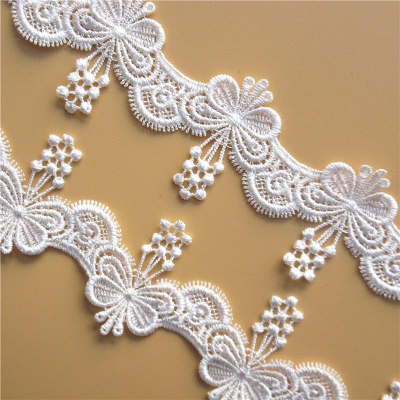 FQTANJU 3 Yards Flower Lace Edge Trim Ribbon for Wedding Applique DIY Sewing Crafts