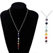 7 Chakra Gem Stone Beads Pendant Necklace Women Yoga Reiki Healing Balancing Maxi Necklaces Charms Bijoux Femme Jewelry 2016 New