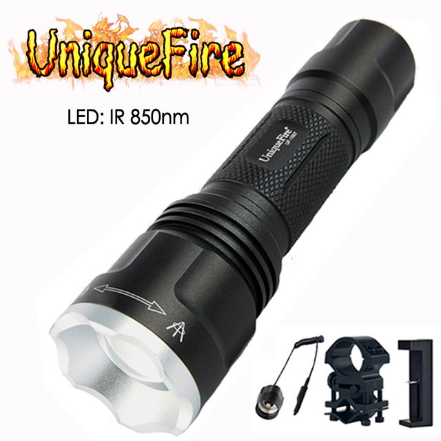 UniqueFire Mini 1507 850NM IR LED Flashlight Night Vision Adjustable Torch with Charger, Scope Mount, Remote Pressure Switch Set
