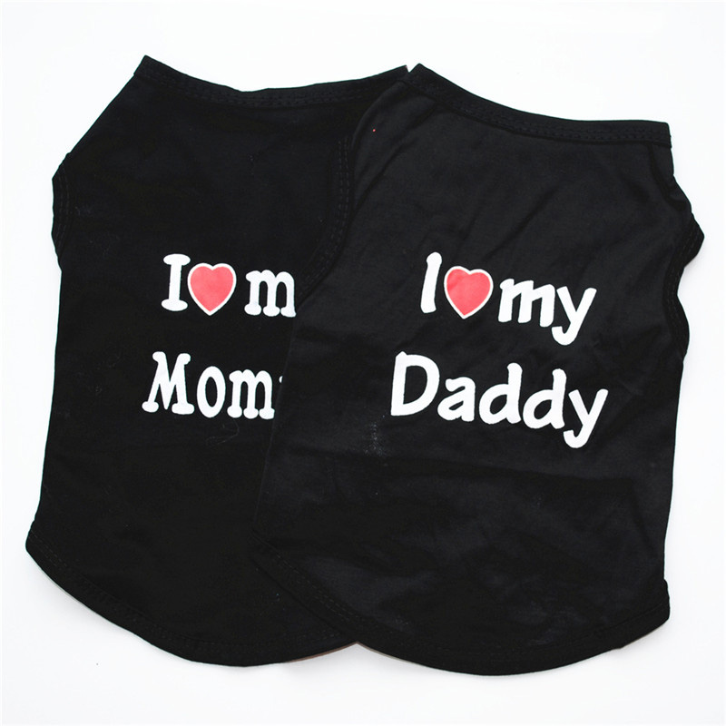 Classic Love Mommy & Love Daddy Print Dog Vest Unisex Puppy Cat T Shirt Sleeveless Clothing Cute Dogs Clothes For Small Doggy 8