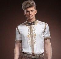 Fanzhuan Free Shipping New male Mens Men's man Palace 2014 summer short sleeved silk shirt business silk embroidered shirt 14313