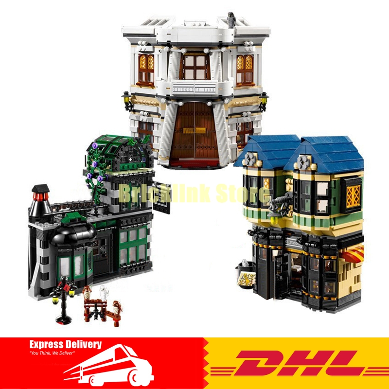 LEPIN 16012 MOC Movie Series Harry Potter The Diagon Alley Set Building Blocks Bricks Assembled lepins Toys Gifts Clone 10217 harry potter magical places from the films hogwarts diagon alley and beyond