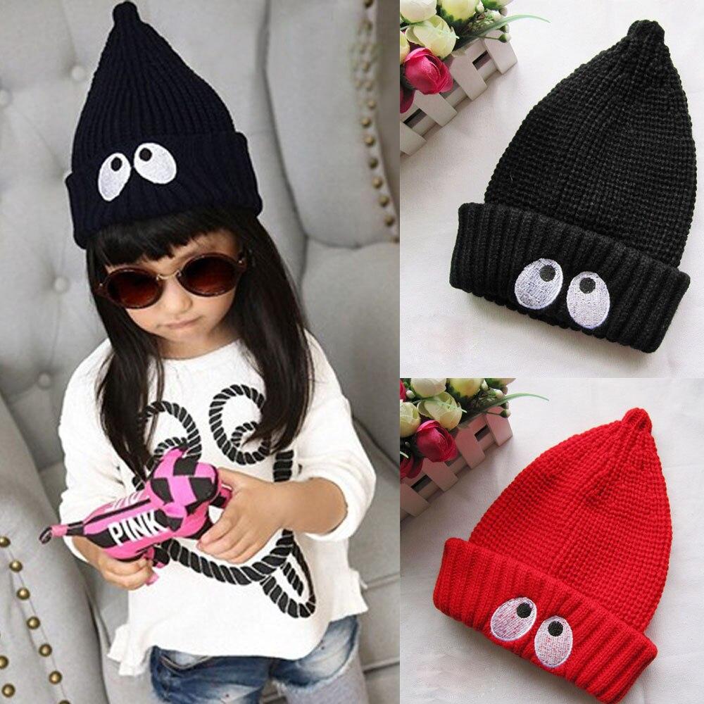 Mignon enfants chapeaux d hiver Enfant Enfants Garçons Filles Eye Imprimer tricoté  Hiver Chapeau Chaud bébé accessoires photo bébé bonnet meilleur amour 4c5321f1db9