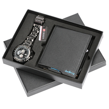男性は鋼/革腕時計フォールディングクラスプ革財布のためのボーイフレンドのためのお父さん