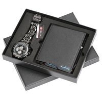 Men Watches Stainless Steel Band Quartz Wrist Watch with Folding Clasp Leather Wallet Gift Set for Boyfriend for Dad