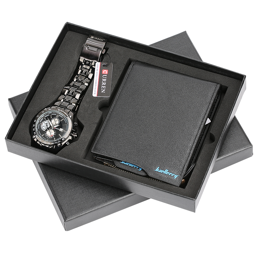 Men Watches Steel/Leather Band Quartz Wrist Watch with Folding Clasp Leather Wallet Gift Set for Boyfriend for Dad