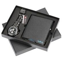 Erkekler saatler çelik/deri Band kuvars kol saati ile katlanır toka deri cüzdan hediye seti erkek arkadaşı baba için