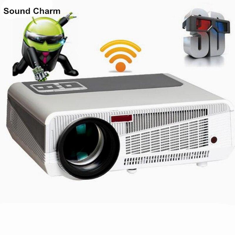 El más nuevo 5500 lumen Android4.4 HD LED Wifi Smart Proyector 230 W 3D casa teatro LCD Video Proyector TV Beamer con Bluetooth 4,0