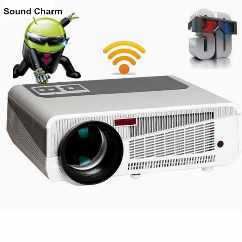 Más nuevo 5500 lumen Android4.4 HD LED Wifi Proyector inteligente 230 W 3D home theater vídeo LCD TV Beamer con bluetooth 4,0