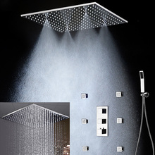 Modern 20 Inch Multifunction Shower Faucets Set Ceiling Square Rain Mist Massage Thermostatic Bath Body Jets 2