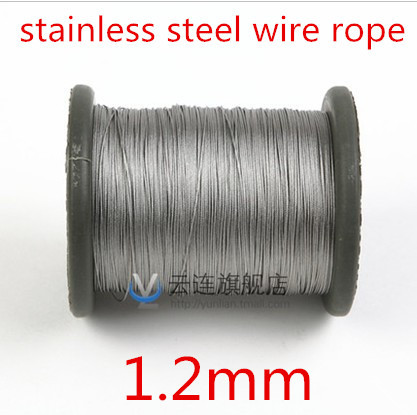 100meter/lot 1.2mm  Roll High Tensile Stainless Steel Wire Rope 7X7 Structure 1.2MM Diameter