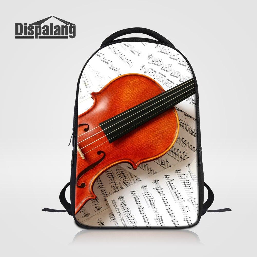 Dispalang femmes hommes mode sac à dos pour ordinateur portable 14 pouces cahier mignon violon Design sac d'école pour collège sac à dos adolescents Rugtas