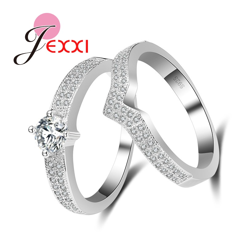 jexxi hot selling white cubic zirconia women girl 925 sterling silver wedding engagement rings set 2 - Selling Wedding Ring