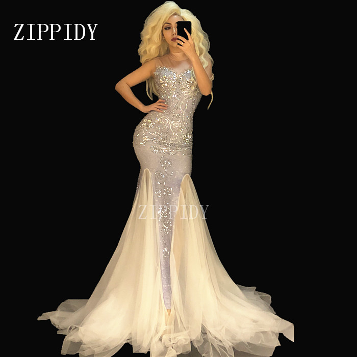Sparkly Stones White Mesh Long Dress Women s Birthday Party Celebrate Slim Dress Women Dance Net