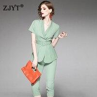 Summer Designer Elegant Office Lady Two Piece Outfits Women Short Sleeve Solid Blazer Suit Set Calf Length Pants Twinset