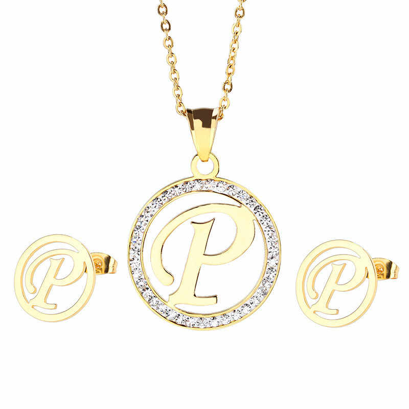 Gold Stainless Steel Rhinestone Circle Letter Alphabet P Pendant Necklace Earrings Sets Fit Girlfriend Birthday Gifts