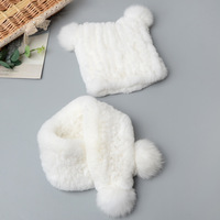 Winter Baby Hat Scarf Kids Knitted Cap Cute Real Rabbit Fur Hats Child Ears Beanies Boys Girls Toddler Caps Scarf Christmas Gift