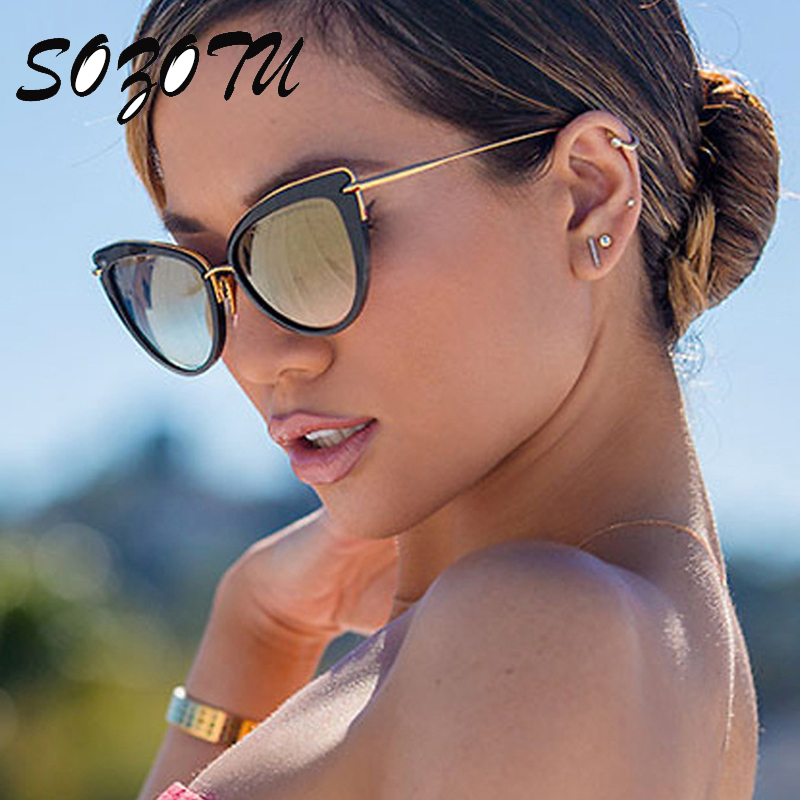 SOZOTU Cat Eye Sunglasses Women Vintage Sun Glasses Ladies Retro ... 58bad52fb7