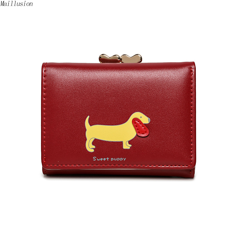 Maillusion Rfid Wallet Women Fashion Hasp Lady Wallet Cute Puppy Student Coin Purse Birthday Gift Girl Leather Clutch Wallets