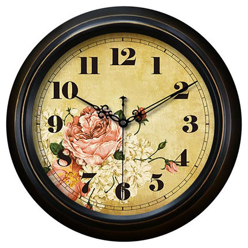 European Retro Digital Wall Clock Creative Large Decorative Flower Wall Clocks Home Decor Vintage Wanduhr Unique Gifts 50w341