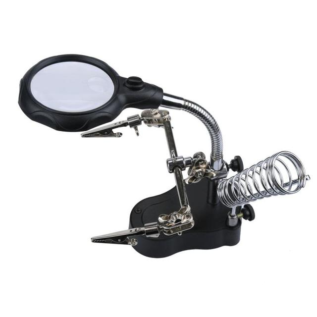 Good Sale Helping Hand Magnifier Set And Soldering Stand Tool With LED Light Watch Repair Jul 25
