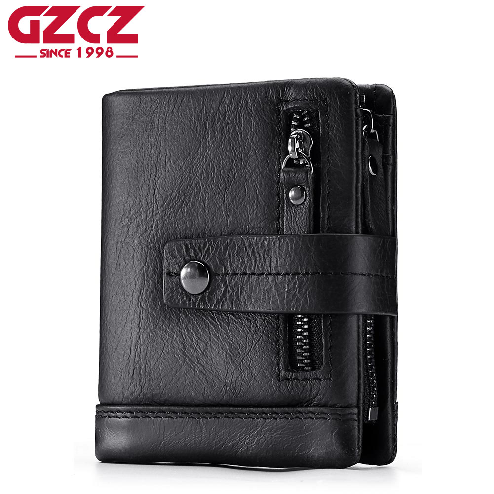 GZCZ Genuine Leather Wallet Men Portomonee Small Vallet Male Coin Purse PORTFOLIO MAN Vintage Style Hasp Walet Zipper Design