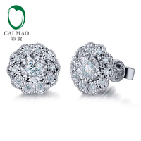 CaiMao 14k White Gold 0.3ct Natural Diamond Engagement Stud Earring Fine Jewelry
