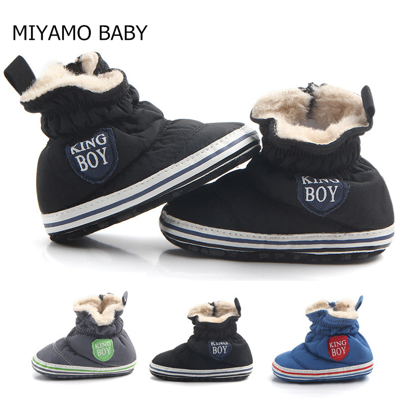 New Brand Three Colors Warm Casual Infant Shoes Baby Boy Long Plush Anti-slip First Walker