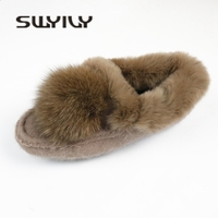 SWYIVY Rabbit Fur Retro Loafers Shoes Woman Winter 2018 Fur Ball Female Luxury Casual Cotton Padded Shoes Warm Snow Flat Loafers