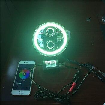 5-3/4 RGB Multi-Farbe Weiß Rot Blau Grün LED Halo Angel Eye Scheinwerfer 5,75 Zoll LED Projektion Moto Für Harley Scheinwerfer
