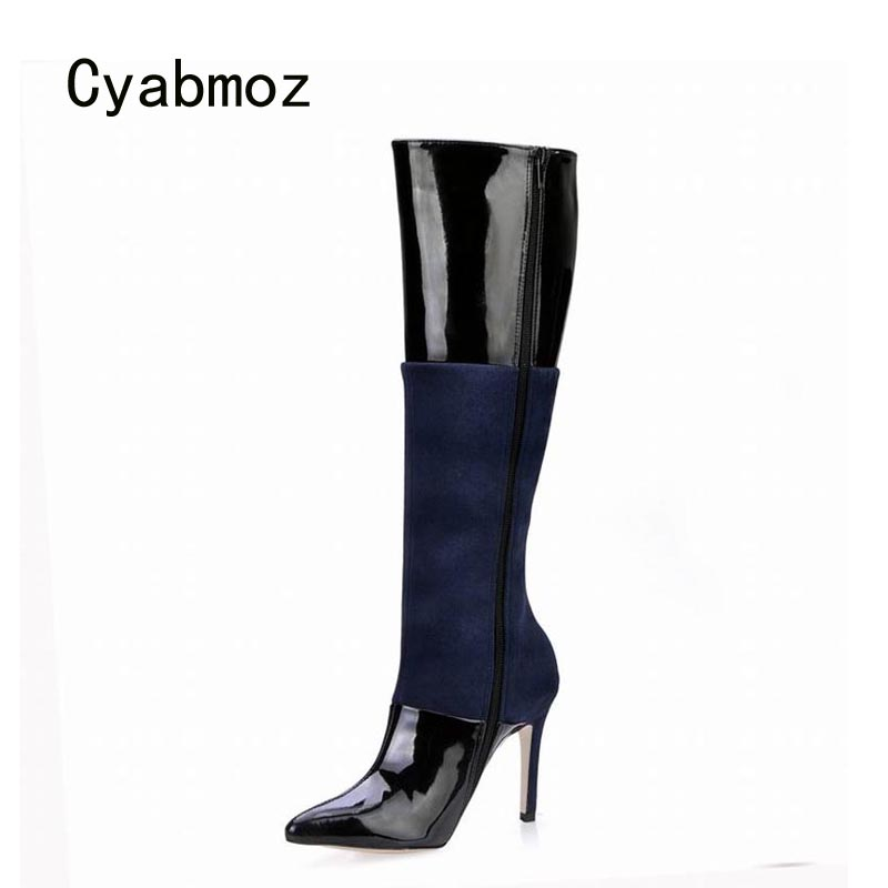 Cyabmoz Knee High Heels Winter Boots Women Shoes Woman Zapatillas Botas Zapatos Mujer Zip Mixed Colors Ladies Party Dress Shoes