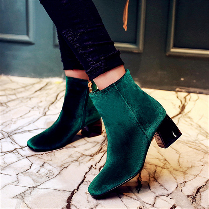 Plus size 34-43 Autumn and winter Ankle Boots Flock Women motorcycle Brand Quality Square High heeled Woman Chelsea Boots shoes plus size 34 43 autumn and winter ankle boots flock women motorcycle brand quality square high heeled woman chelsea boots shoes