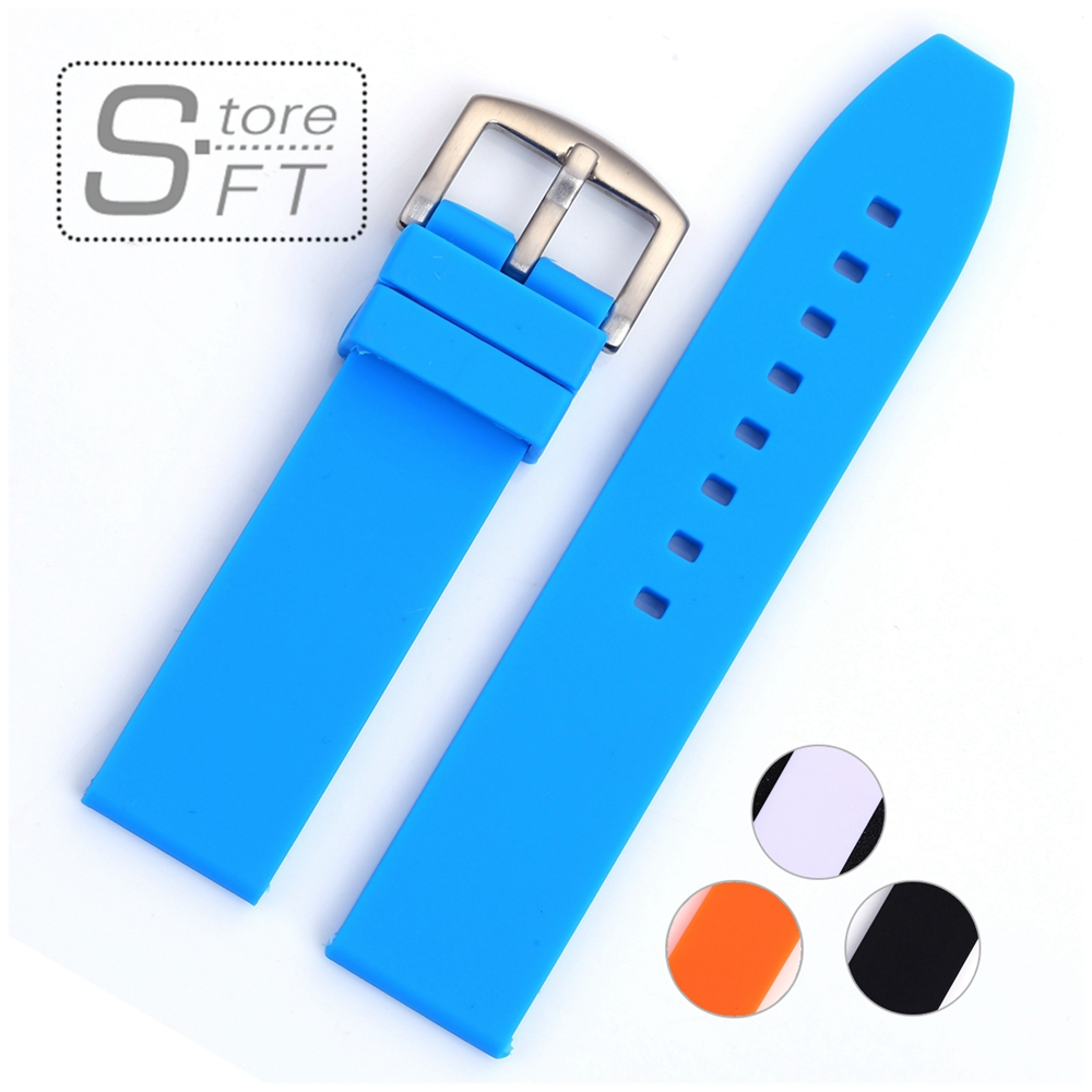 Silicone Watch Band Strap High Quality Stainless Steel Buckle Silicone Watchband Different Colors 18mm 20mm 22mm 24mm 22 24mm silicone pin buckle wristwatch band mens womens watch strap high quality jd0108