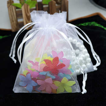 Wholesale 100pcs High Quality 17x23cm Large Organza Bag White Color Wedding Favor Candy Gift Bag Jewelry Packaging Bags Pouches