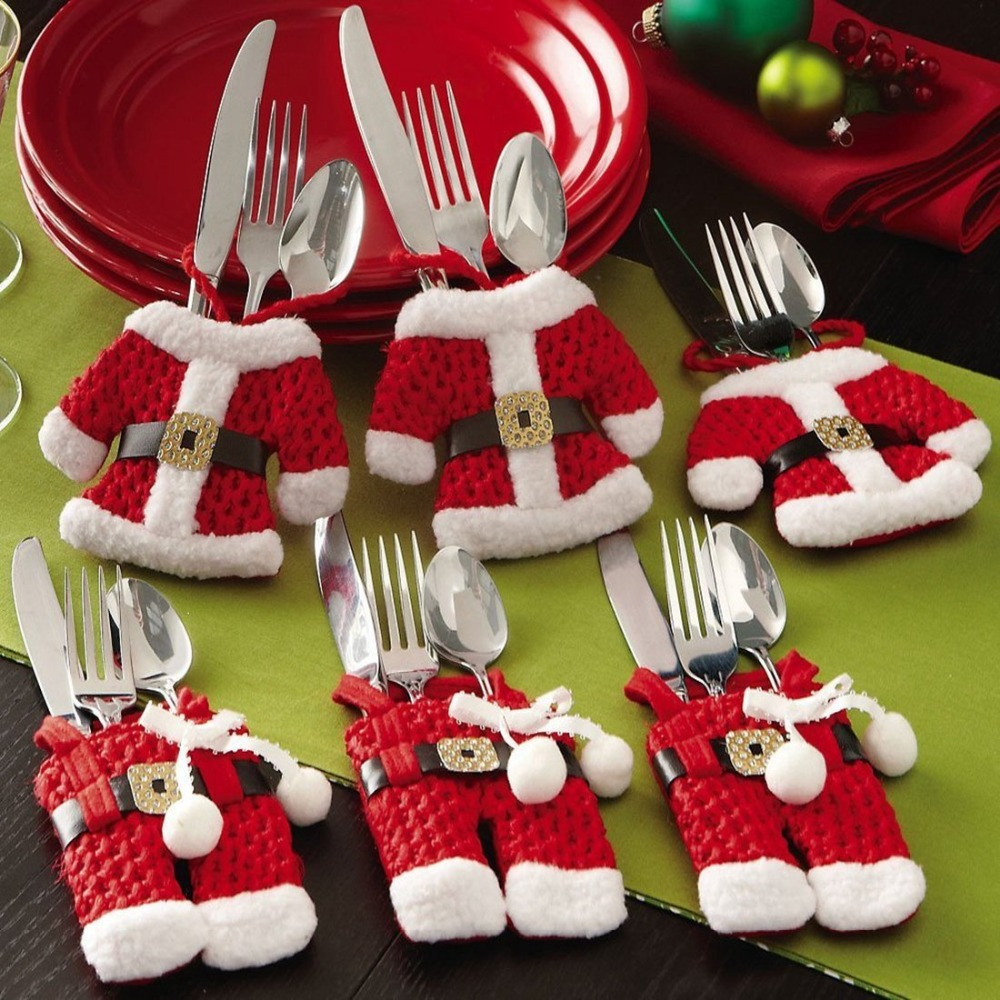 Santa Suit Christmas Silverware Holder Pockets Red, 6PCS