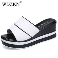 WDZKN Women Platform Wedge Slippers Women Summer Slides Black White High Heels Casual Ladies Slippers Shoes H9303