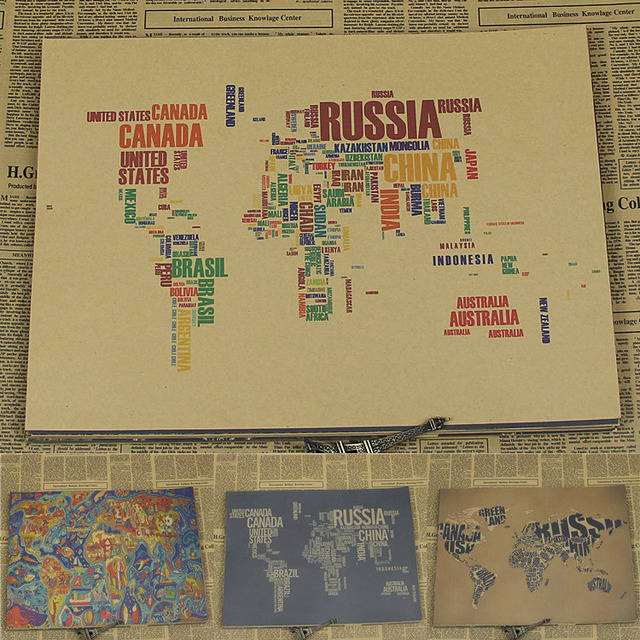 Vintage paper retro anime poster english letter world map poster vintage paper retro anime poster english letter world map postervintage home wall sticker gumiabroncs Choice Image