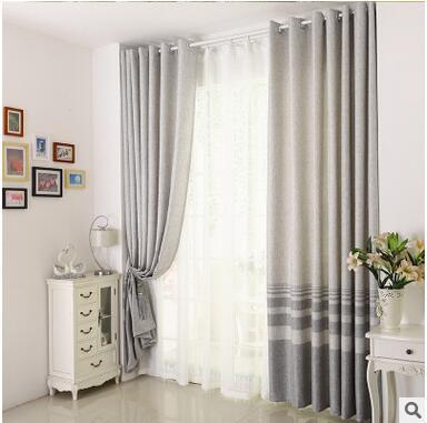 Pamuk Keten çizgili Modern Lüks Pencere Perdeleri Oturma Odası - Ev Tekstili