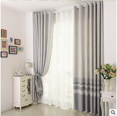 Cotton Linen Striped Modern Luxury Window Curtains For Living Room Kitchen Black Curtain French