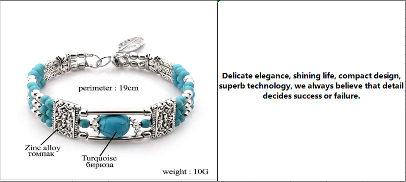 New popular steel wire turquoises beaded bracelet bohemian style female bracelet jewelry