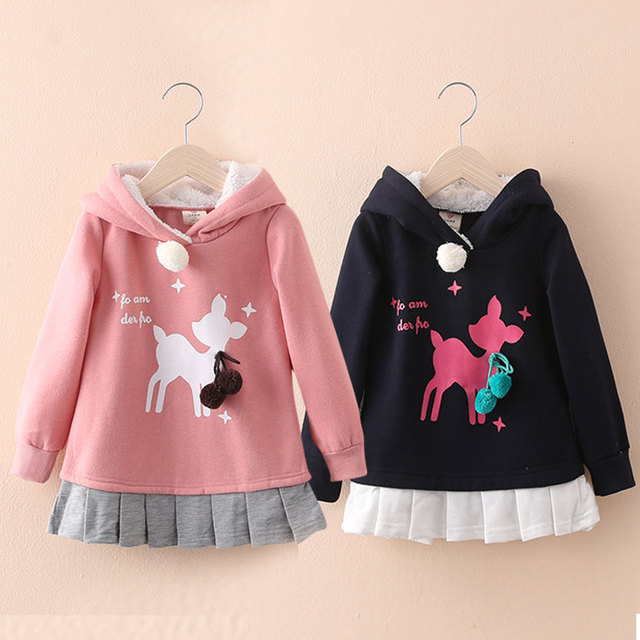 Top quality 3-10Years girls warm cashmere hooded sweater coat for kids Winter Autumn Children's Sweatshirts 100% Cotton Moletons