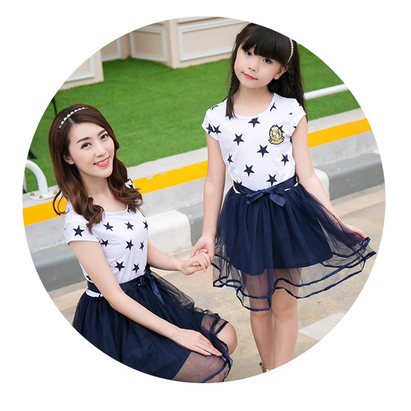 HTB135NzaoLrK1Rjy0Fjq6zYXFXaN - Summer Cotton Family Matching Outfits Mom And Daughter Mesh Dress Dad Son Blue White Stars Short T-shirt Children Clothing