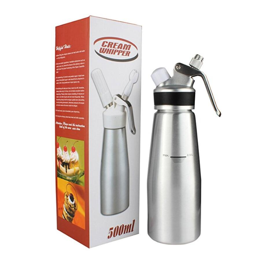Cream Whipper Dispenser 1 Pint Milk Frother Set with 3 Decoration Plastic Nozzles & Charger Holder & Cleaning Brush ...