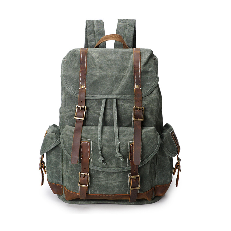 2018 Vintage Waxed Canvas Men Backpack Large capacity Military Oiled Leather School Backpack Male Rucksack Waterproof Travel Bag edgy trendy casual canvas backpack men large capacity simple backpack fashion hook buckle travel bag durable rucksack