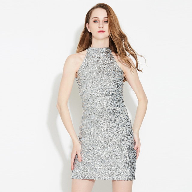 7fb2604c7612 Sequin Dress Women Sexy Club Dresses 2018 sleeveless Bodycon Party Nightclub  Mini Vintage Dress vestido lentejuelas