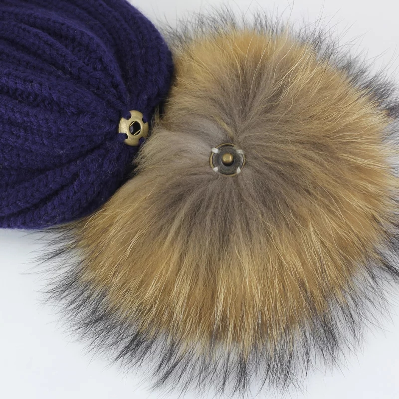 Real Fur Pompoms 12cm DIY Sliver Fox Raccoon Fur Pom Poms Balls Natural Fur Pompon For Hats Bags Shoes Accessories