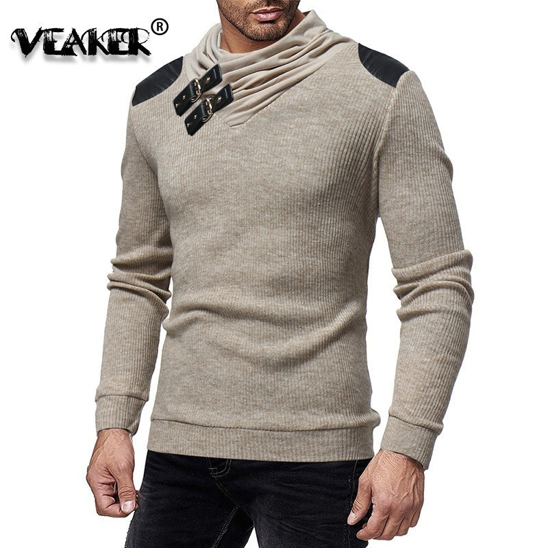 Knitted Sweater Heaps-Collar Hooded Long-Sleeve Warm Autumn Male Winter Mens 3XL Brand