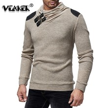 Sweater Men 2018 Autumn Winter Warm Brand Male Long Sleeve Skin Buckle Solid Color Hooded Mens Heaps Collar Knitted Sweater 3XL
