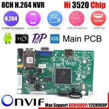 8CH CCTV DVR NVR доска 1080P HI3520D безопасности Модуль NVR 8CH 1080 P/12CH 960P XMEYE P2P мобильный мониторинг просмотр из облачного хранилища